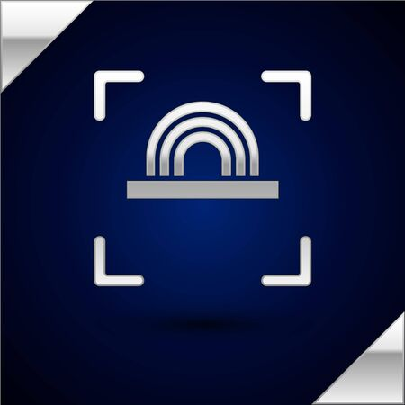 Silver Fingerprint icon isolated on dark blue background. ID app icon. Identification sign. Touch id. Vector Illustration