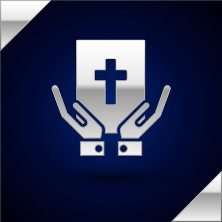 Silver Oath on the Holy Bible icon isolated on dark blue background. The procedure in court. Truth and truth. Promise before god. Vector Illustration