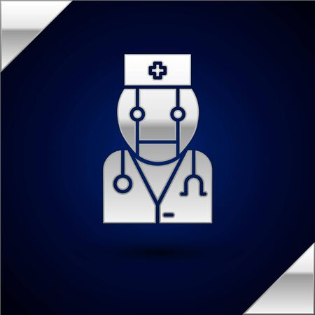 Silver Robot doctor icon isolated on dark blue background. Medical online consultation robotic silhouette artificial intelligence. Vector Illustration Illustration