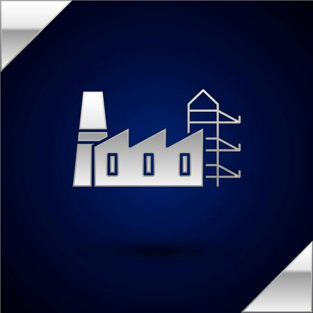 Silver Power station plant and factory icon isolated on dark blue background. Energy industrial concept. Vector Illustration Illustration