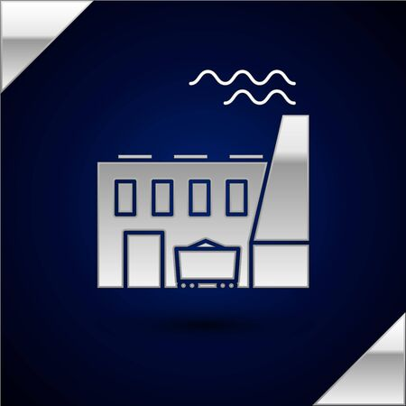 Silver Coal power plant and factory icon isolated on dark blue background. Energy industrial concept. Coal power station. Vector Illustration Illustration