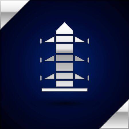 Silver Electric tower used to support an overhead power line icon isolated on dark blue background. High voltage power pole line. Vector Illustration