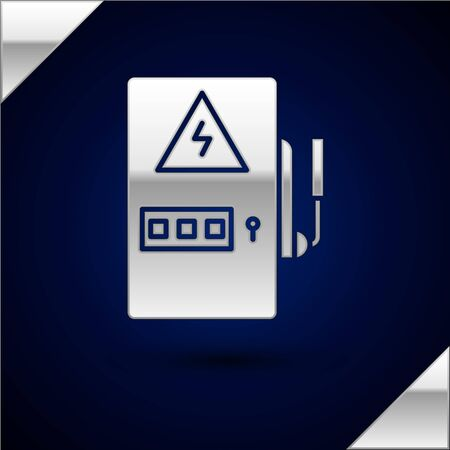 Silver Electrical panel icon isolated on dark blue background. Vector Illustration