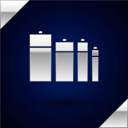 Silver Battery icon isolated on dark blue background. Lightning bolt symbol. Vector Illustration