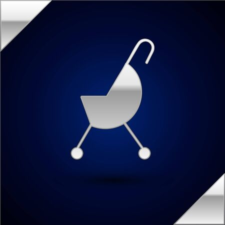 Silver Baby stroller icon isolated on dark blue background. Baby carriage, buggy, pram, stroller, wheel. Vector Illustration