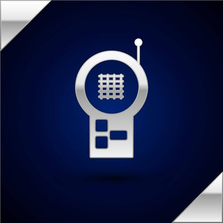 Silver Baby Monitor Walkie Talkie icon isolated on dark blue background. Vector Illustration