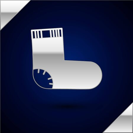 Silver Baby socks clothes icon isolated on dark blue background. Vector Illustration Illustration