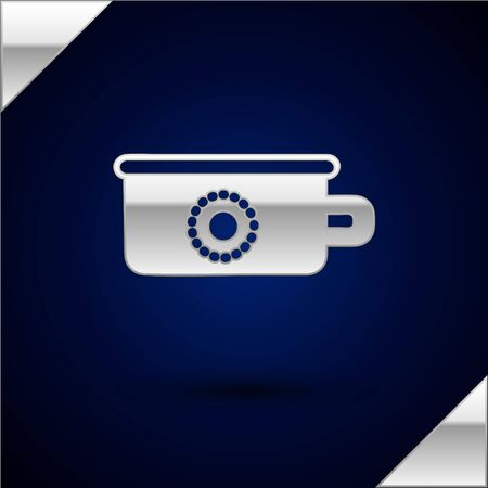 Silver Baby potty icon isolated on dark blue background. Chamber pot. Vector Illustration