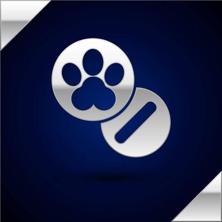 Silver Dog and pills icon isolated on dark blue background. Prescription medicine for animal. Vector Illustration Illustration