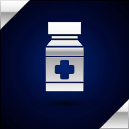 Silver Dog medicine bottle and pills icon isolated on dark blue background. Container with pills. Prescription medicine for animal. Vector Illustration Illustration