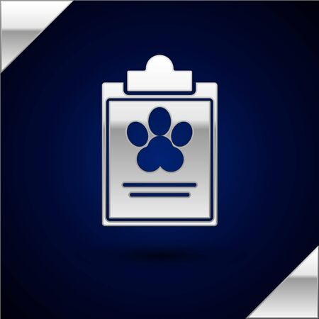 Silver Clipboard with medical clinical record pet icon isolated on dark blue background. Health insurance form. Medical check marks report. Vector Illustration Illustration