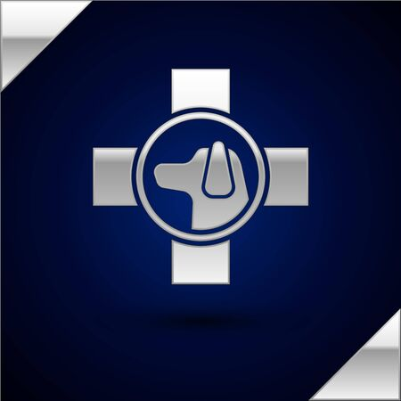 Silver Veterinary clinic symbol icon isolated on dark blue background. Cross with dog veterinary care. Pet First Aid sign. Vector Illustration