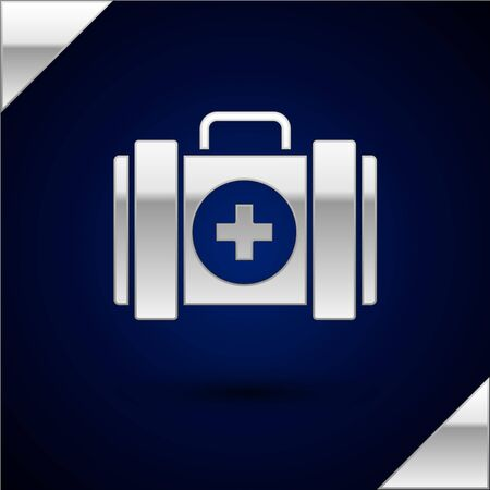 Silver Pet first aid kit icon isolated on dark blue background. Dog or cat paw print. Clinic box. Vector Illustration Illustration