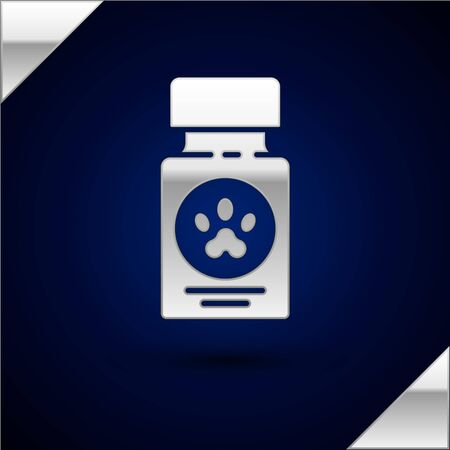 Silver Dog medicine bottle and pills icon isolated on dark blue background. Container with pills. Prescription medicine for animal. Vector Illustration Stock Vector - 134933702