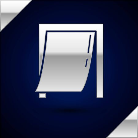 Silver Door for pet icon isolated on dark blue background. Vector Illustration