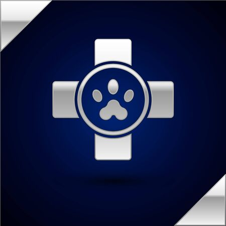 Silver Veterinary clinic symbol icon isolated on dark blue background. Cross hospital sign. Stylized paw print dog or cat. Pet First Aid sign. Vector Illustration