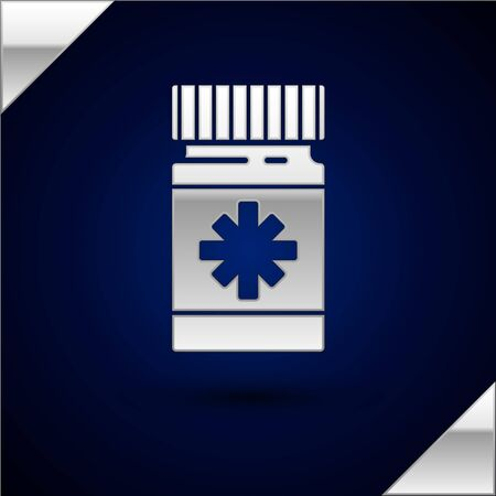 Silver Dog medicine bottle and pills icon isolated on dark blue background. Container with pills. Prescription medicine for animal. Vector Illustration Stock Vector - 134933745