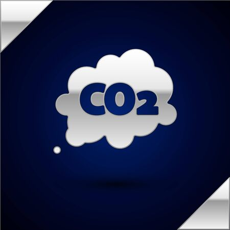 Silver CO2 emissions in cloud icon isolated on dark blue background. Carbon dioxide formula symbol, smog pollution concept, environment concept. Vector Illustration Ilustrace
