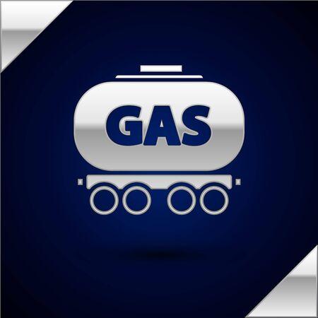 Silver Gas railway cistern icon isolated on dark blue background. Train gasoline tank on railway car. Rail freight. Vector Illustration