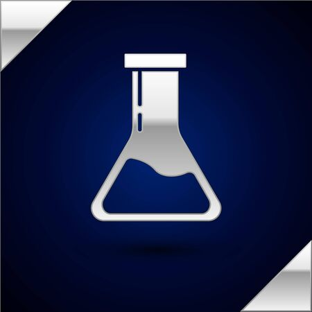 Silver Test tube and flask - chemical laboratory test icon isolated on dark blue background. Laboratory glassware sign. Vector Illustration Illustration