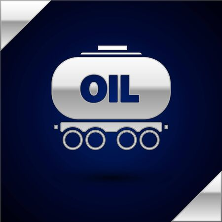 Silver Oil railway cistern icon isolated on dark blue background. Train oil tank on railway car. Rail freight. Oil industry. Vector Illustration
