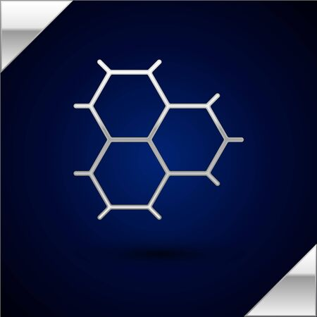Silver Chemical formula consisting of benzene rings icon isolated on dark blue background. Vector Illustration