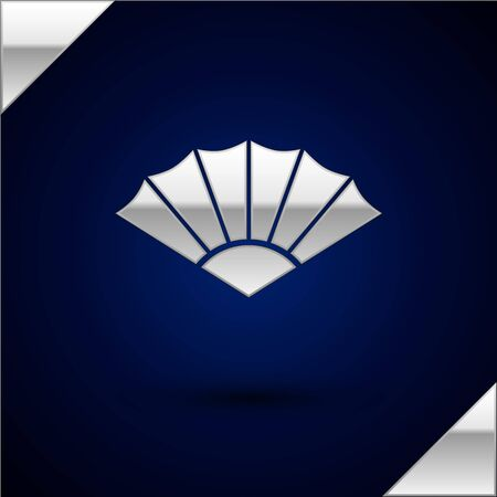 Silver Traditional paper chinese or japanese folding fan icon isolated on dark blue background. Vector Illustration