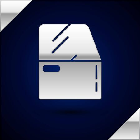 Silver Car door icon isolated on dark blue background. Vector Illustration