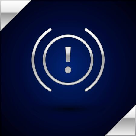Silver Brake system warning icon isolated on dark blue background. Exclamation mark in the car. Dashboard attention sign. Vector Illustration