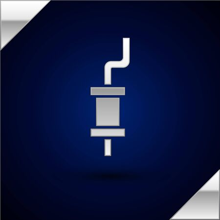 Silver Car muffler icon isolated on dark blue background. Vector Illustration