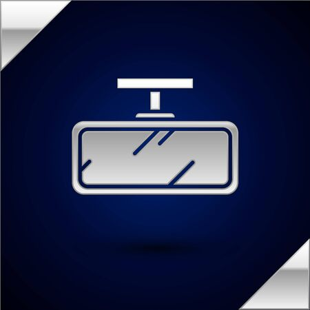 Silver Car mirror icon isolated on dark blue background. Vector Illustration