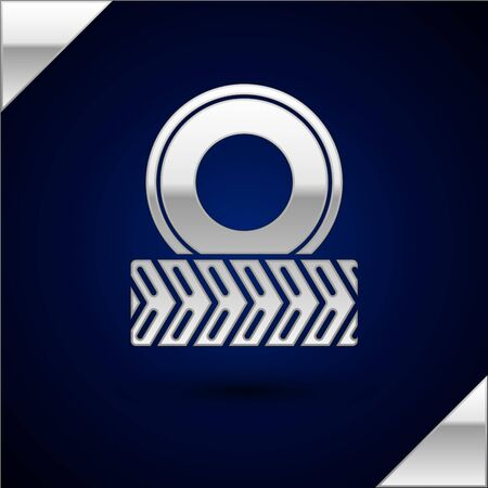 Silver Car wheel icon isolated on dark blue background. Vector Illustration