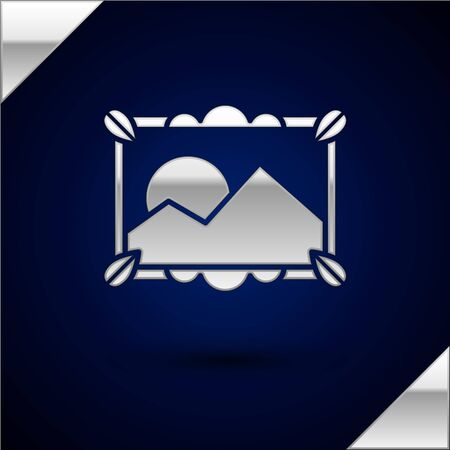 Silver Picture landscape icon isolated on dark blue background. Vector Illustration