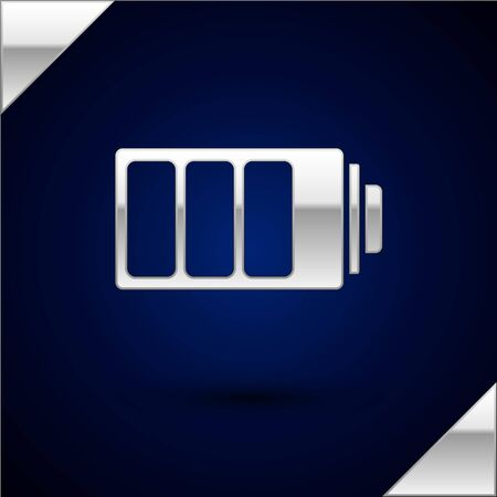 Silver Battery charge level indicator icon isolated on dark blue background. Vector Illustration Ilustração