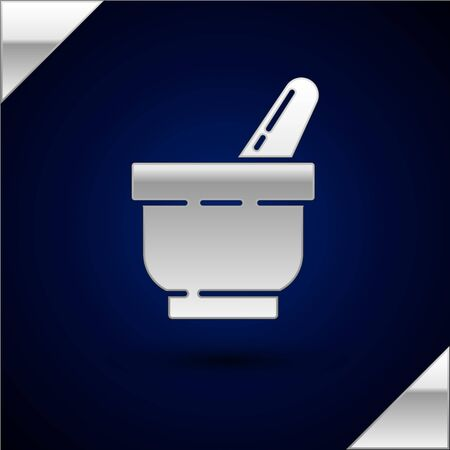 Silver Mortar and pestle icon isolated on dark blue background. Vector Illustration Stock Vector - 134934186