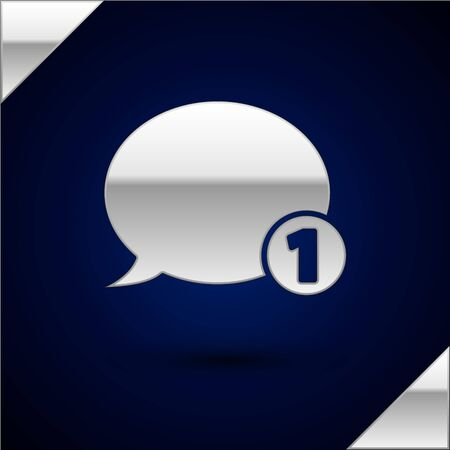 Silver Speech bubble chat icon isolated on dark blue background. Message icon. Communication or comment chat symbol. Vector Illustration