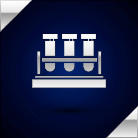 Silver Test tube and flask chemical laboratory test icon isolated on dark blue background. Laboratory glassware sign. Vector Illustration Illustration