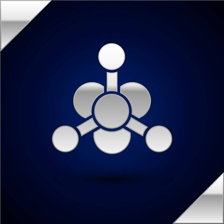 Silver Bacteria icon isolated on dark blue background. Bacteria and germs, microorganism disease causing, cell cancer, microbe, virus, fungi. Vector Illustration