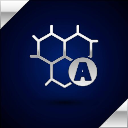 Silver Chemical formula icon isolated on dark blue background. Abstract hexagon for innovation medicine, health, research and science. Vector Illustration