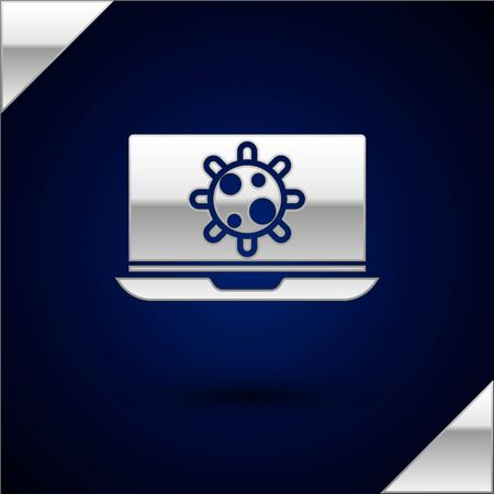 Silver Bacteria on laptop icon isolated on dark blue background. Bacteria and germs, cell cancer, microbe, virus, fungi. Vector Illustration