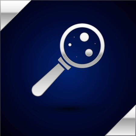 Silver Microorganisms under magnifier icon isolated on dark blue background. Bacteria and germs, cell cancer, microbe, virus, fungi. Vector Illustration
