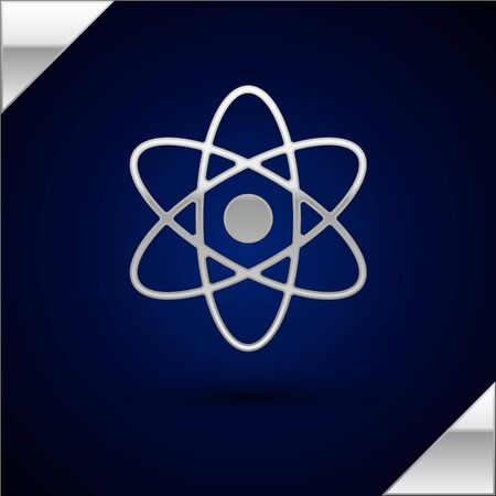 Silver Atom icon isolated on dark blue background. Symbol of science, education, nuclear physics, scientific research. Vector Illustration Illusztráció