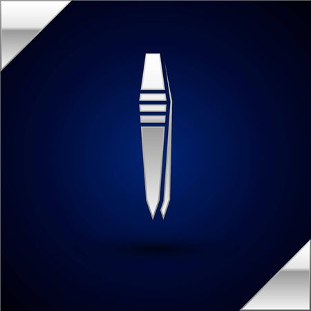 Silver Tweezers icon isolated on dark blue background. Vector Illustration