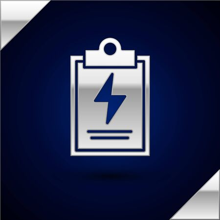 Silver Laboratory clipboard with checklist icon isolated on dark blue background. Control list symbol. Vector Illustration Illustration