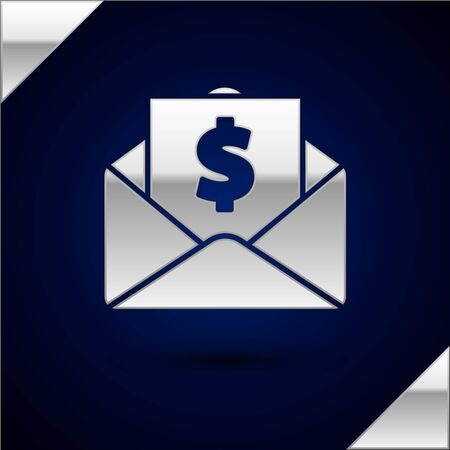 Silver Envelope with coin dollar symbol icon isolated on dark blue background. Salary increase, money payroll, compensation income. Vector Illustration