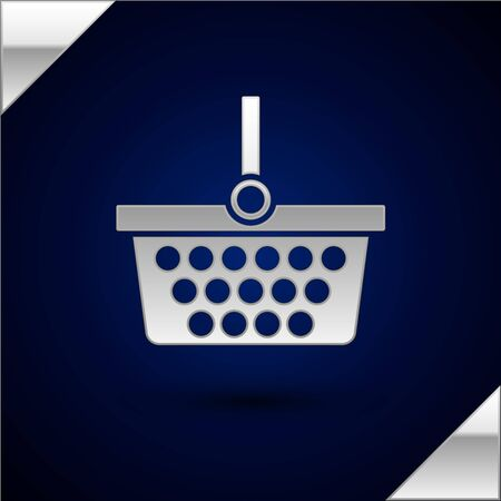 Silver Shopping basket icon isolated on dark blue background. Online buying concept. Delivery service sign. Shopping cart symbol. Vector Illustration