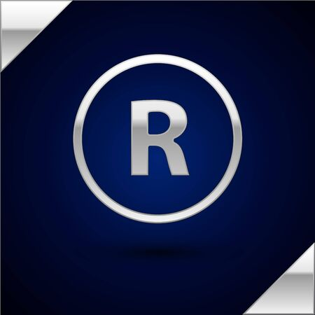 Silver Registered Trademark icon isolated on dark blue background. Vector Illustration