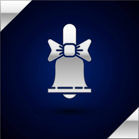 Silver Merry Christmas ringing bell icon isolated on dark blue background. Alarm symbol, service bell, handbell sign, notification. Vector Illustration