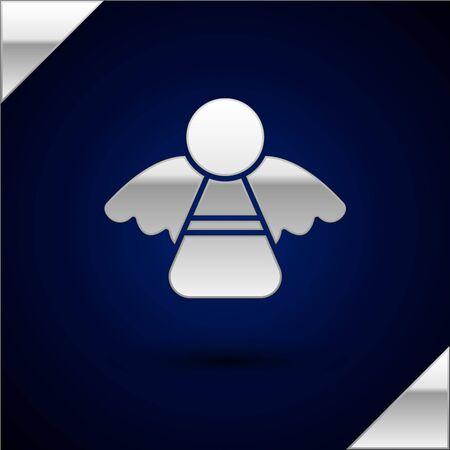 Silver Christmas angel icon isolated on dark blue background. Vector Illustration Archivio Fotografico - 134930354