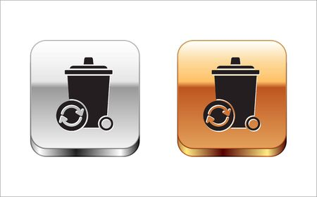 Black Recycle bin with recycle symbol icon isolated on white background. Trash can icon. Garbage bin sign. Recycle basket sign. Silver-gold square button. Vector Illustration